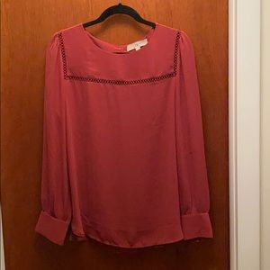 Burnt orange long sleeve blouse